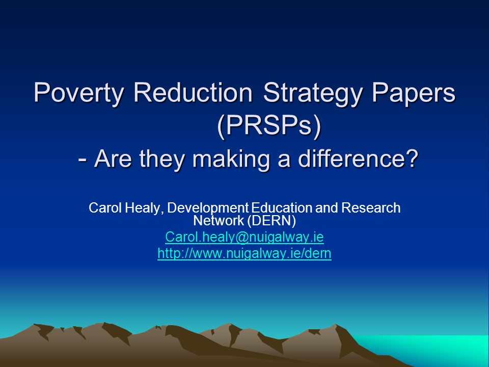 Synopsis Background Principles and Goals of PRSPs Positive Elements Critique of PRSPs in their current form –Goals and principles in practice –Political Issues –Implementation