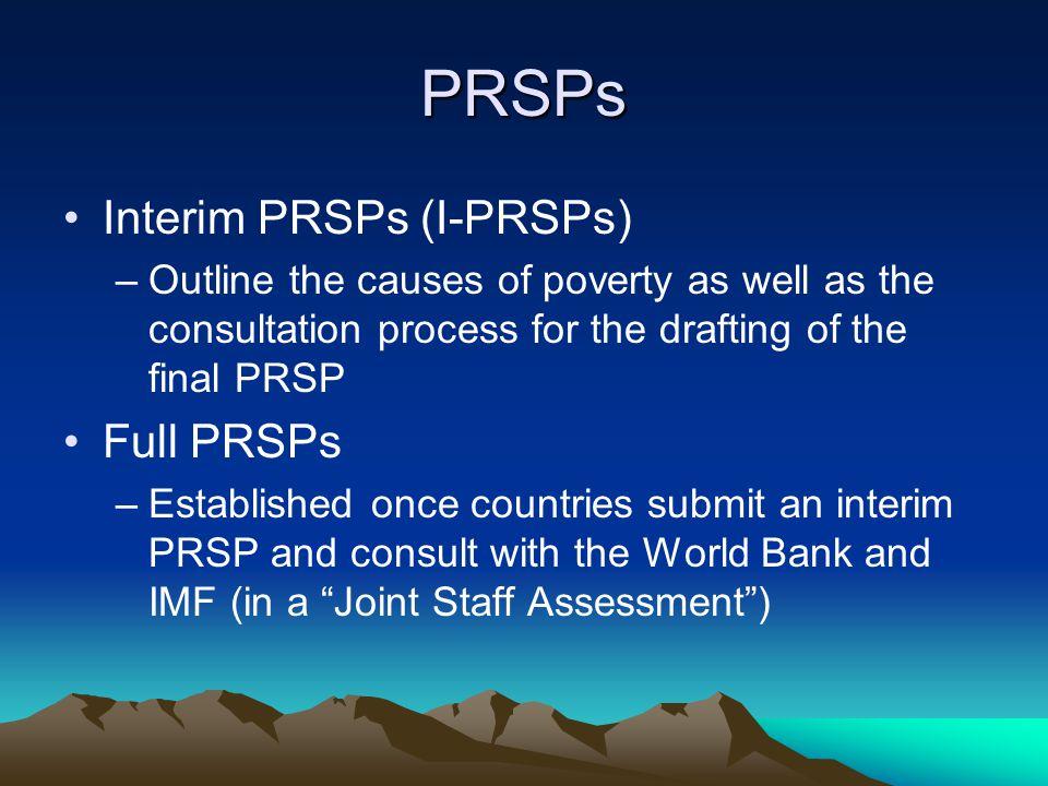 PRSP Core Principals 1.Country- driven 2. Results Orientated 3.