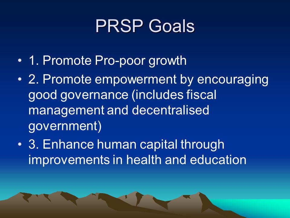 PRSP Goals 1. Promote Pro-poor growth 2.