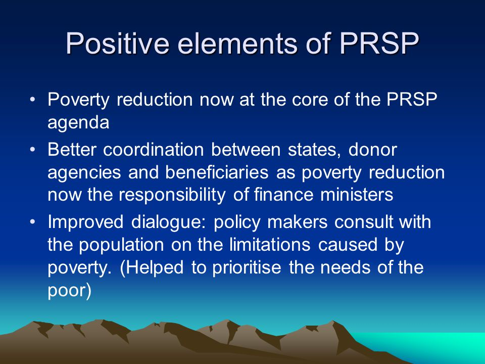 Politics and the PRSP Mandate of the IMF and World Bank prevents them from being involved in politics.