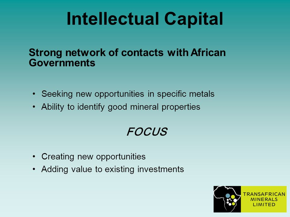 Intellectual Capital Strong network of contacts with African Governments Seeking new opportunities in specific metals Ability to identify good mineral properties FOCUS Creating new opportunities Adding value to existing investments