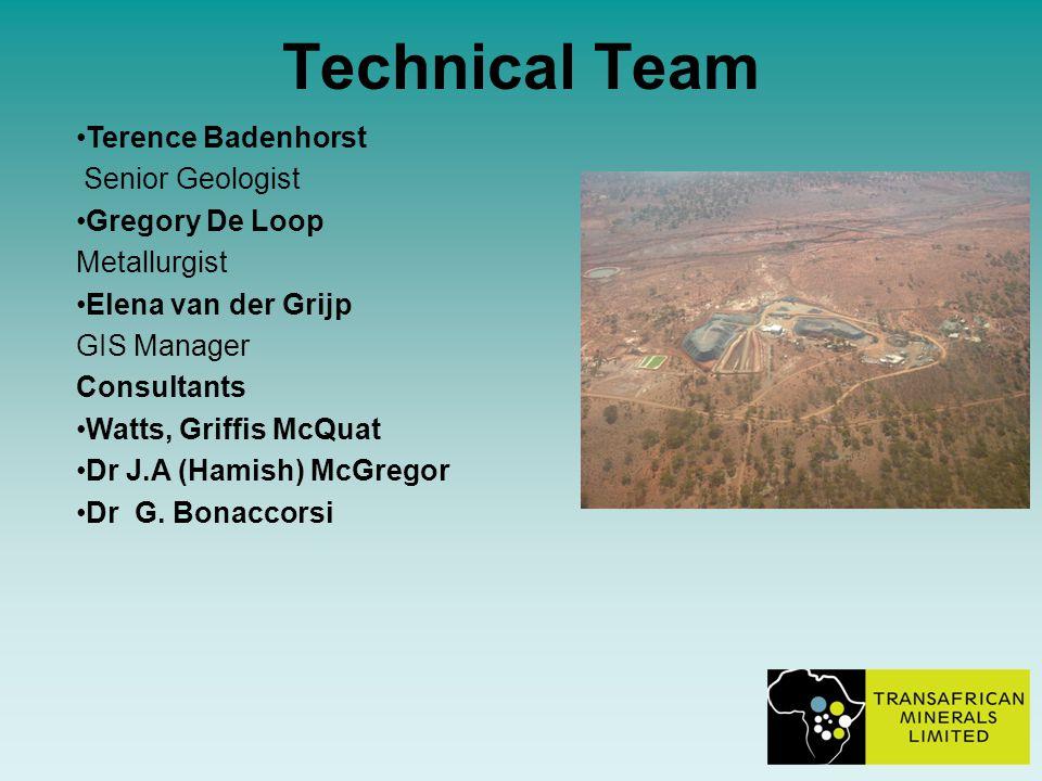 Technical Team Terence Badenhorst Senior Geologist Gregory De Loop Metallurgist Elena van der Grijp GIS Manager Consultants Watts, Griffis McQuat Dr J.A (Hamish) McGregor Dr G.