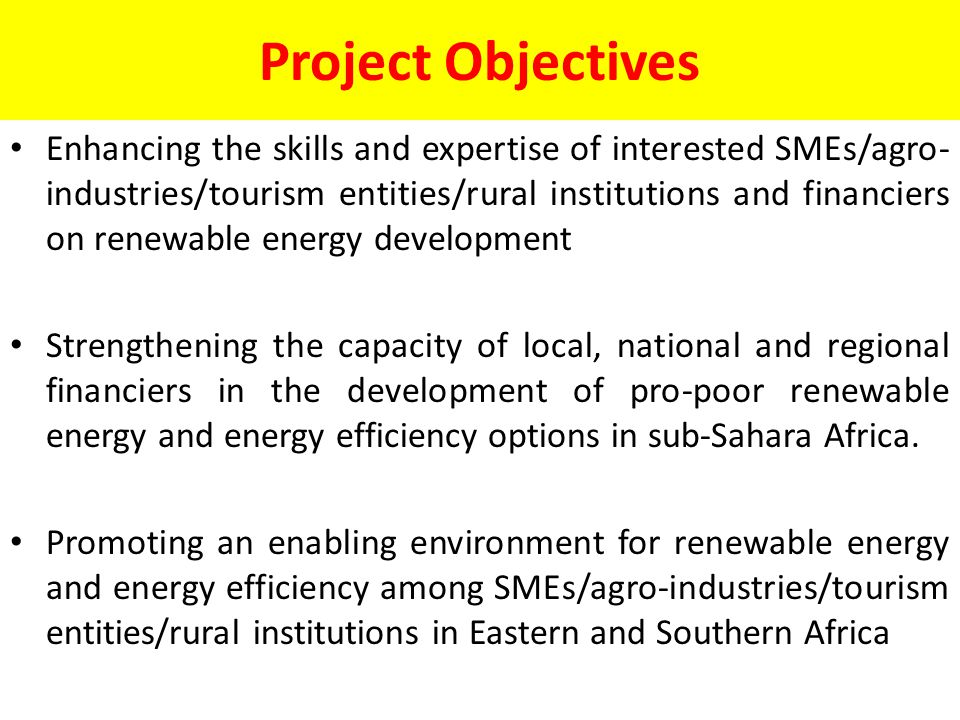 Project Objectives Enhancing the skills and expertise of interested SMEs/agro- industries/tourism entities/rural institutions and financiers on renewable energy development Strengthening the capacity of local, national and regional financiers in the development of pro-poor renewable energy and energy efficiency options in sub-Sahara Africa.