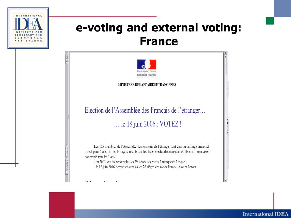 e-voting and external voting: France