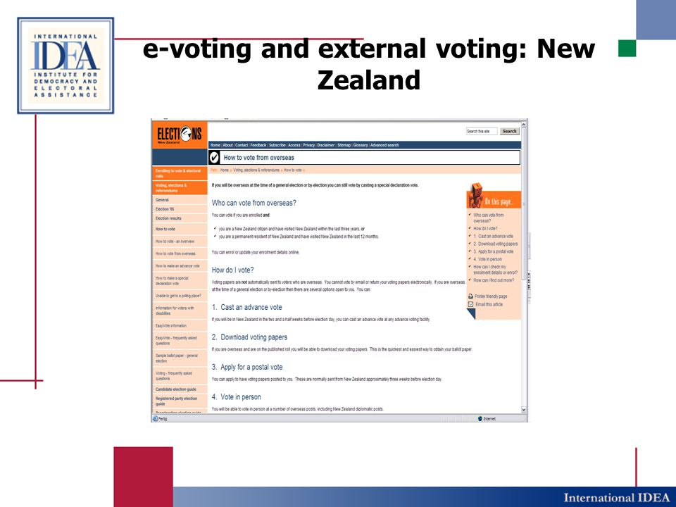e-voting and external voting: New Zealand