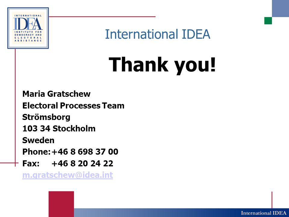 International IDEA Thank you.