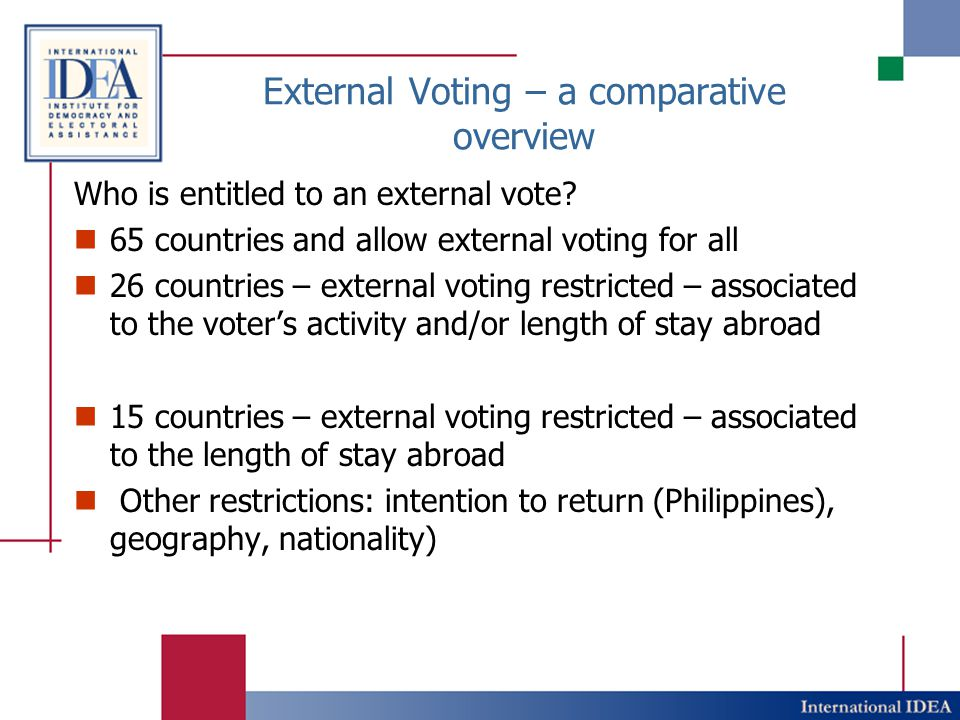 External Voting – a comparative overview Who is entitled to an external vote.