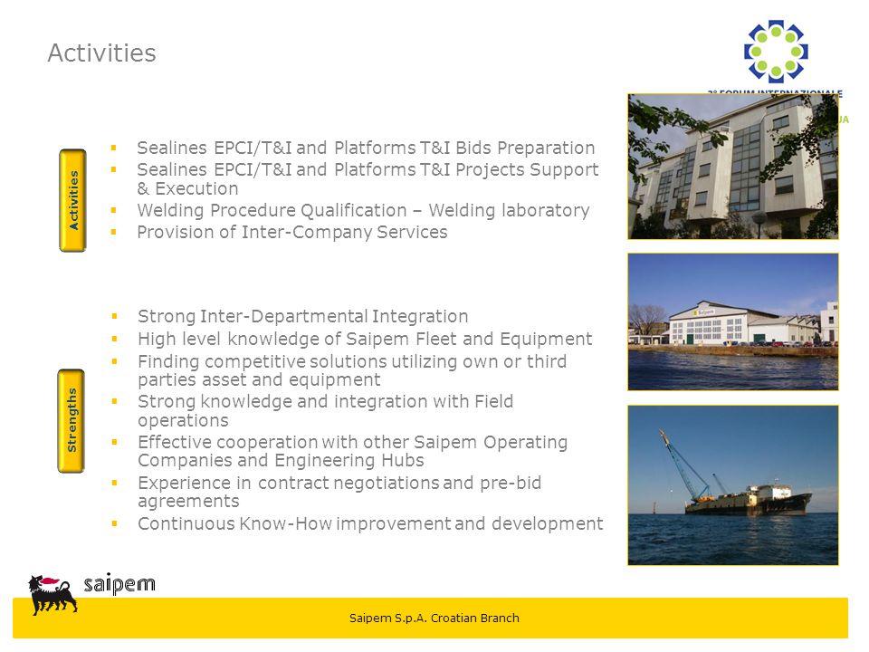 Saipem S.p.A. Croatian Branch Activities  Sealines EPCI/T&I and Platforms T&I Bids Preparation  Sealines EPCI/T&I and Platforms T&I Projects Support