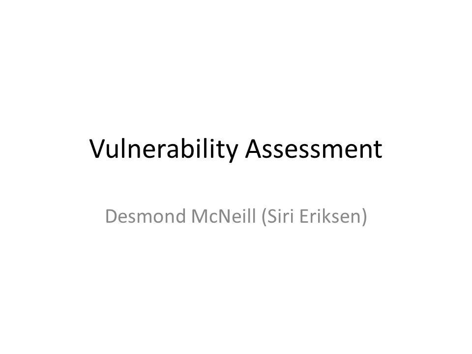 Vulnerability Assessment Desmond McNeill (Siri Eriksen)