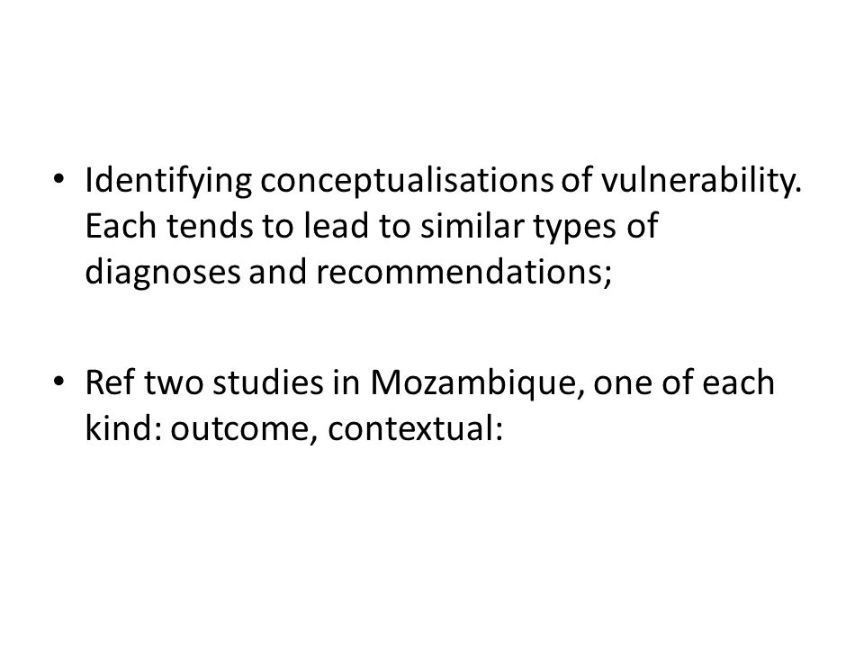 Identifying conceptualisations of vulnerability.