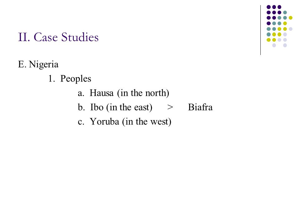 II. Case Studies E. Nigeria 1. Peoples a. Hausa (in the north) b.