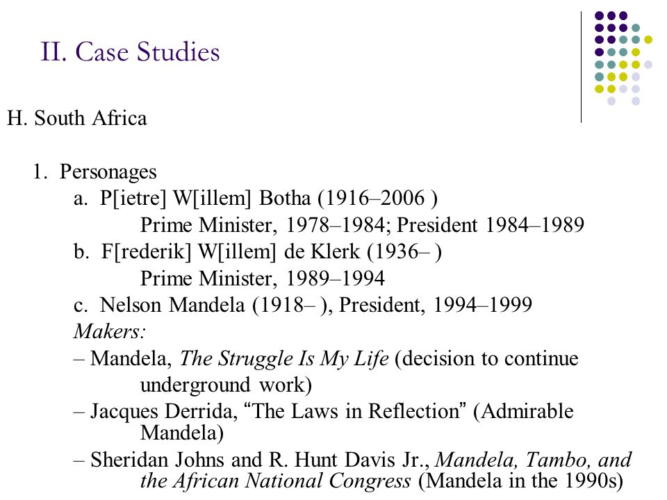 II. Case Studies H. South Africa 1. Personages a.