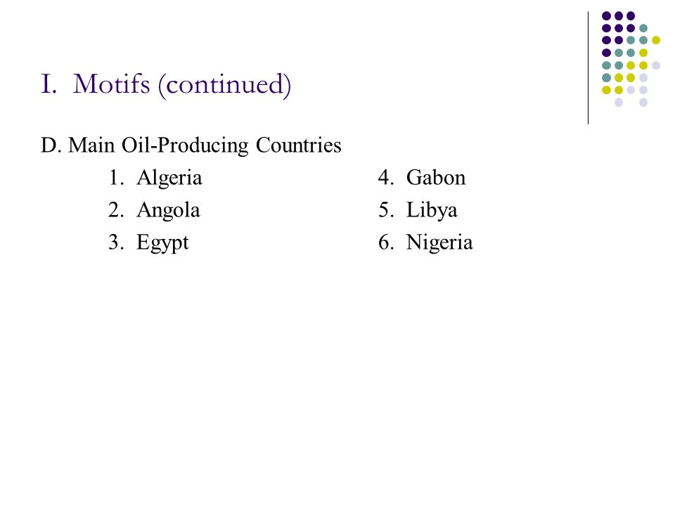 I. Motifs (continued) D. Main Oil-Producing Countries 1.