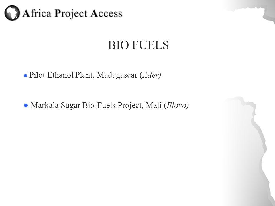 BIO FUELS Pilot Ethanol Plant, Madagascar (Ader) Markala Sugar Bio-Fuels Project, Mali (Illovo)
