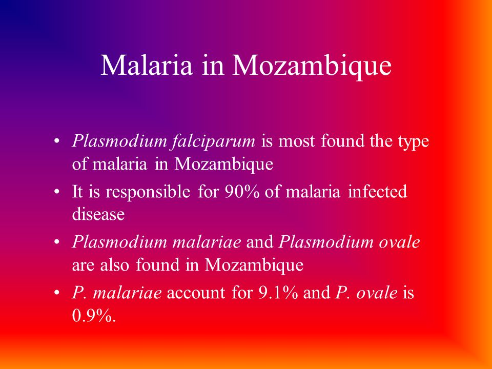 Malaria in Mozambique Plasmodium falciparum is most found the type of malaria in Mozambique It is responsible for 90% of malaria infected disease Plasmodium malariae and Plasmodium ovale are also found in Mozambique P.