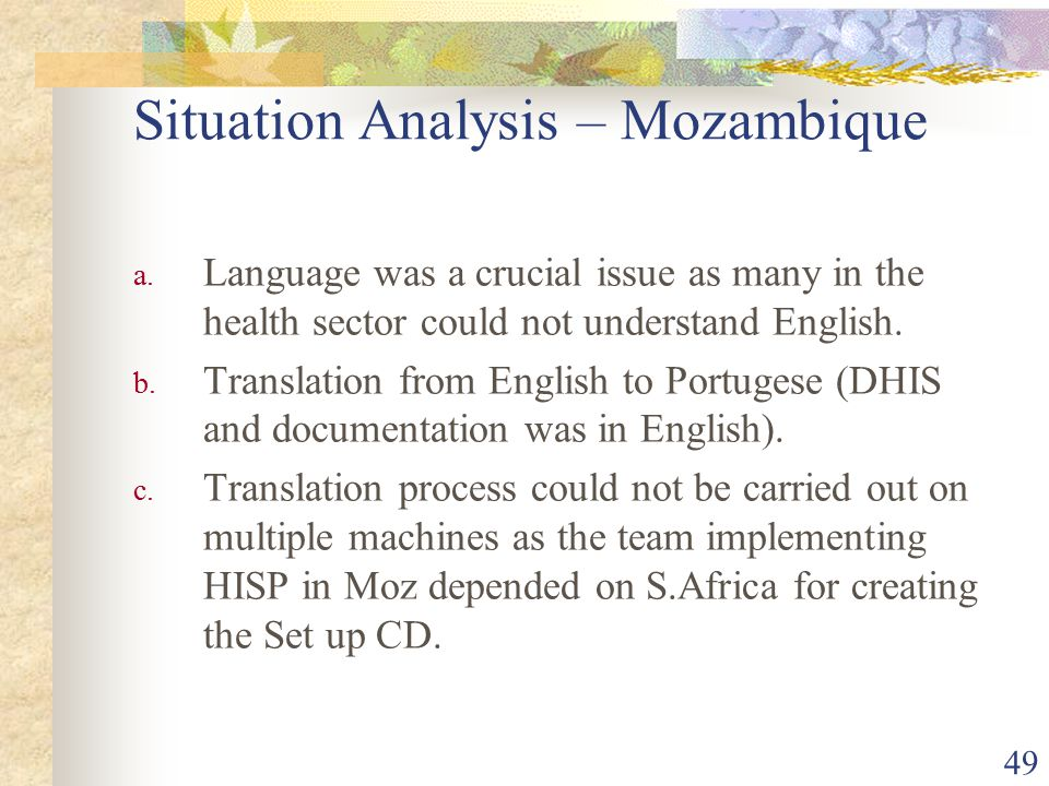 49 Situation Analysis – Mozambique a.