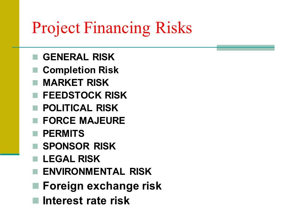 Project Financing Risks GENERAL RISK Completion Risk MARKET RISK FEEDSTOCK RISK POLITICAL RISK FORCE MAJEURE PERMITS SPONSOR RISK LEGAL RISK ENVIRONMENTAL RISK Foreign exchange risk Interest rate risk