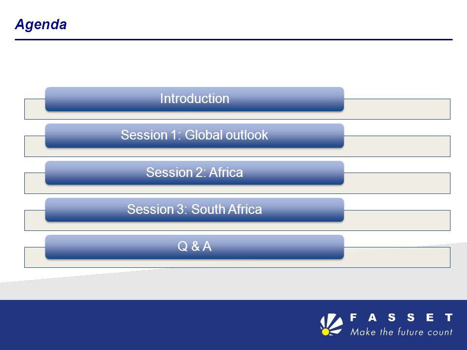 Agenda IntroductionSession 1: Global outlookSession 2: Africa Session 3: South AfricaQ & A