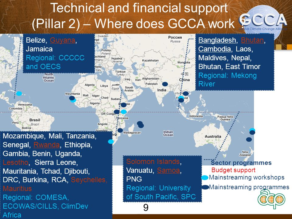 Technical and financial support (Pillar 2) – Where does GCCA work .