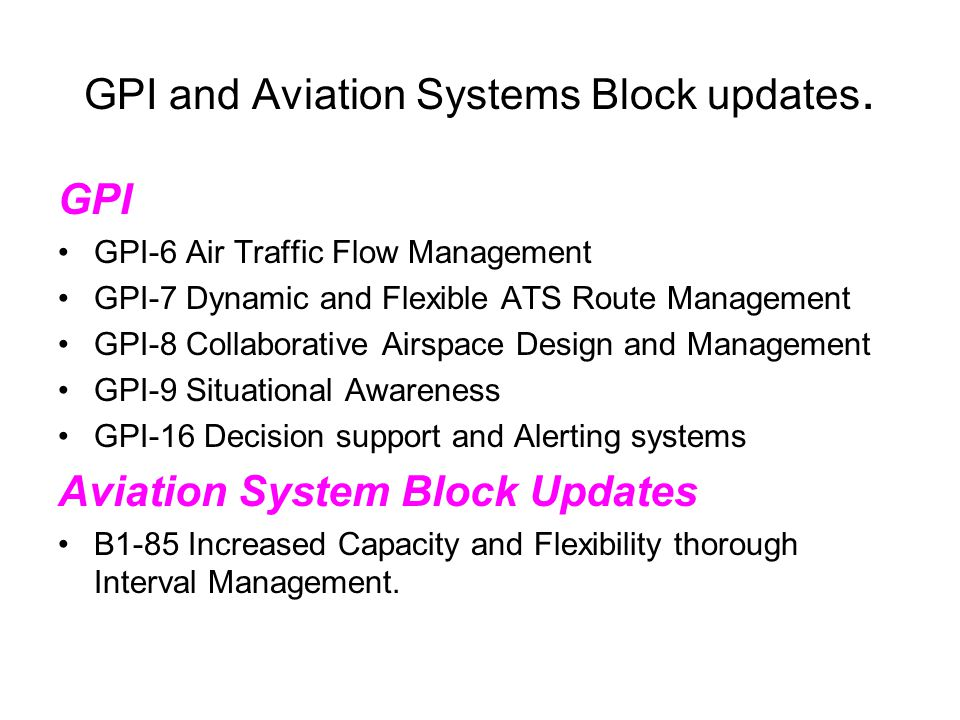 GPI and Aviation Systems Block updates. GPI GPI-6 Air Traffic Flow Management GPI-7 Dynamic and Flexible ATS Route Management GPI-8 Collaborative Airs