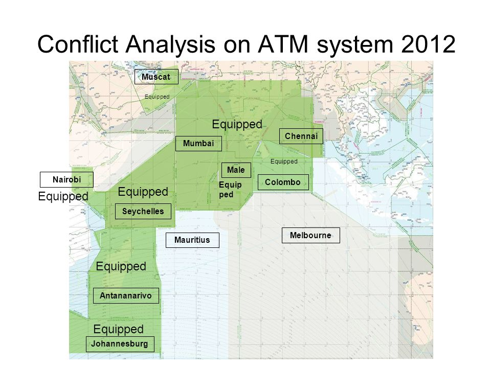 Conflict Analysis on ATM system 2012 Equipped Male Mumbai Chennai Seychelles Antananarivo Johannesburg Melbourne Mauritius Colombo Equipped Nairobi Eq
