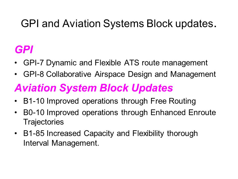 GPI and Aviation Systems Block updates. GPI GPI-7 Dynamic and Flexible ATS route management GPI-8 Collaborative Airspace Design and Management Aviatio
