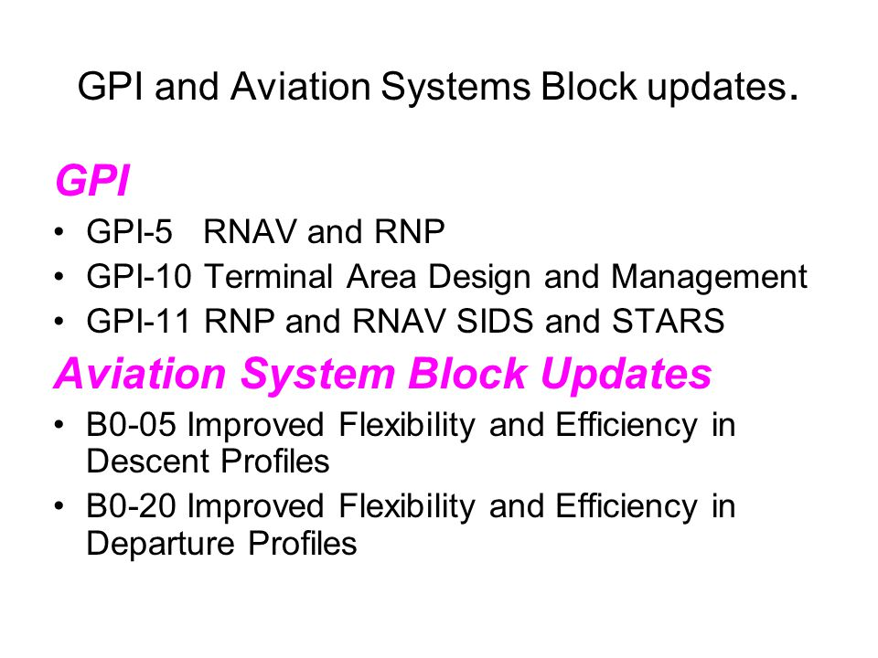 GPI and Aviation Systems Block updates. GPI GPI-5 RNAV and RNP GPI-10 Terminal Area Design and Management GPI-11 RNP and RNAV SIDS and STARS Aviation