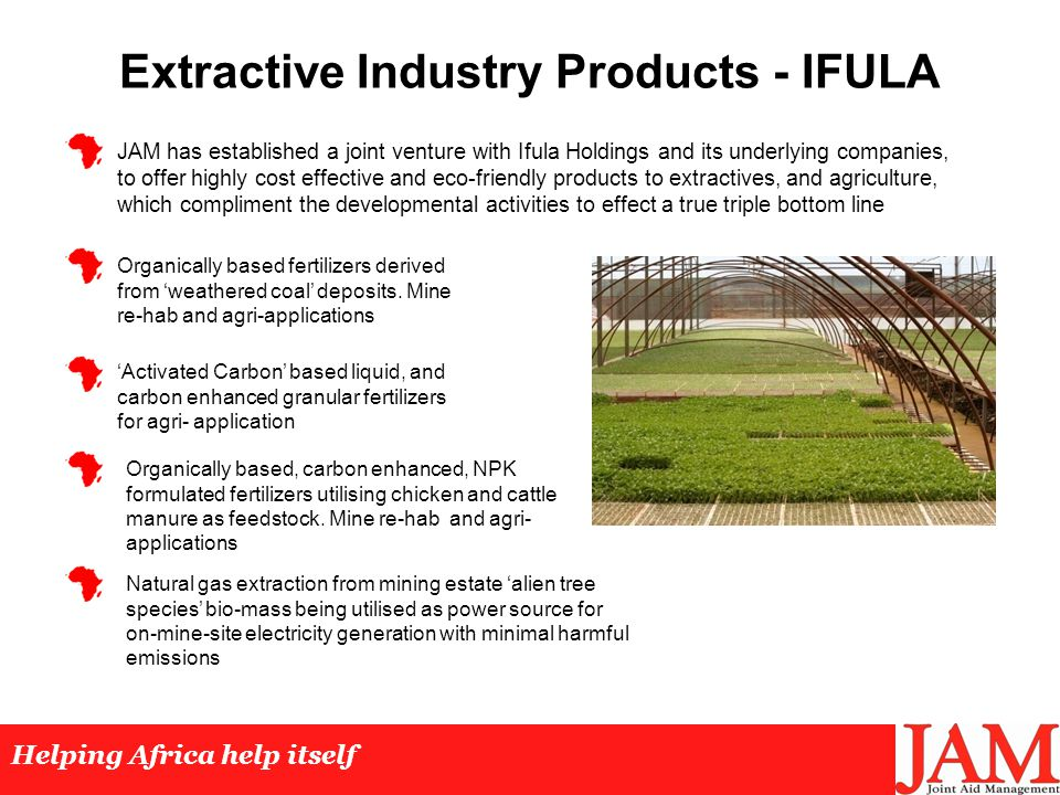 Extractive Industry Products - IFULA Helping Africa help itself Organically based fertilizers derived from 'weathered coal' deposits.