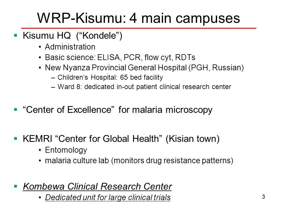 "3 WRP-Kisumu: 4 main campuses  Kisumu HQ (""Kondele"") Administration Basic science: ELISA, PCR, flow cyt, RDTs New Nyanza Provincial General Hospital"