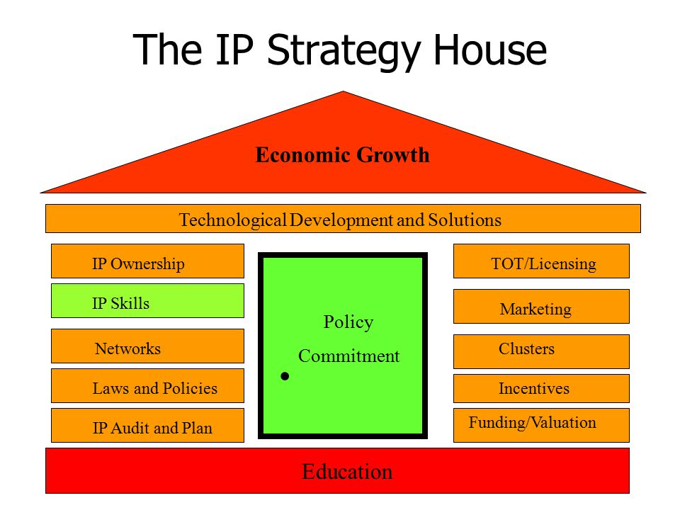 The IP Strategy House Economic Growth Technological Development and Solutions Networks Laws and Policies IP Audit and Plan Clusters Funding/Valuation