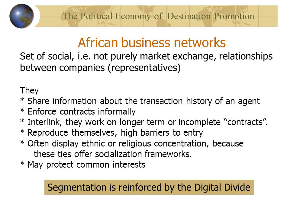 African business networks Set of social, i.e.