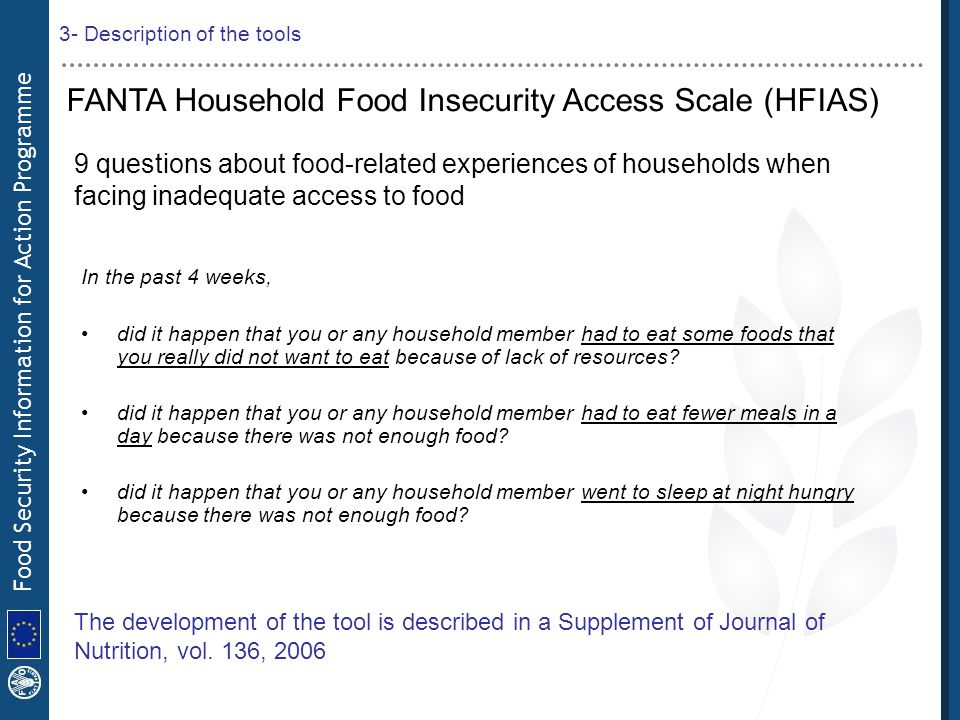 Food Security Information for Action Programme FANTA Household Food Insecurity Access Scale (HFIAS) 9 questions about food-related experiences of hous