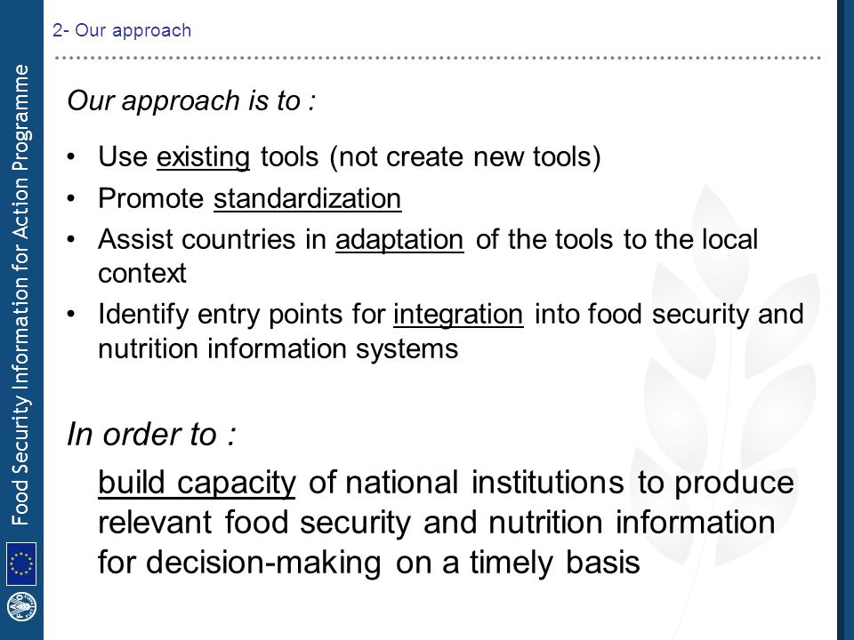 Food Security Information for Action Programme 2- Our approach Our approach is to : Use existing tools (not create new tools) Promote standardization