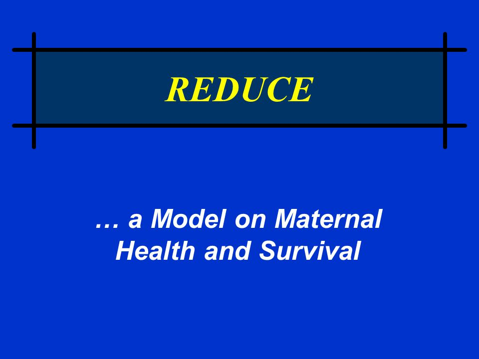 REDUCE … a Model on Maternal Health and Survival