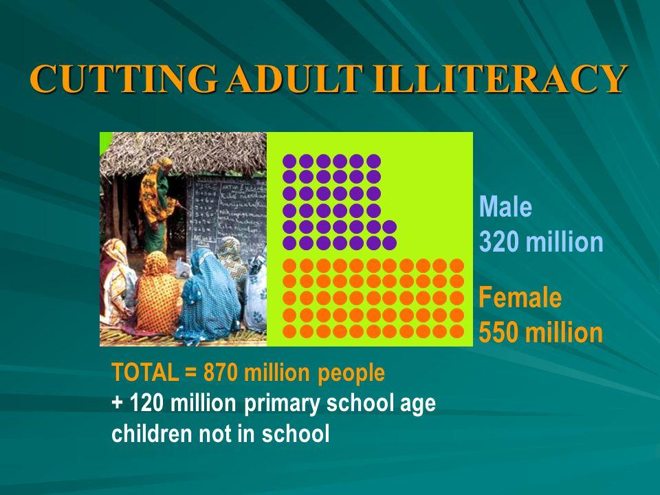 CUTTING ADULT ILLITERACY Male 320 million Female 550 million TOTAL = 870 million people + 120 million primary school age children not in school