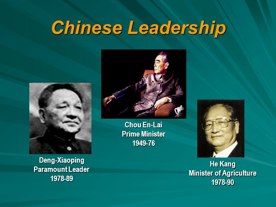 Chinese Leadership He Kang Minister of Agriculture 1978-90 Chou En-Lai Prime Minister 1949-76 Deng-Xiaoping Paramount Leader 1978-89