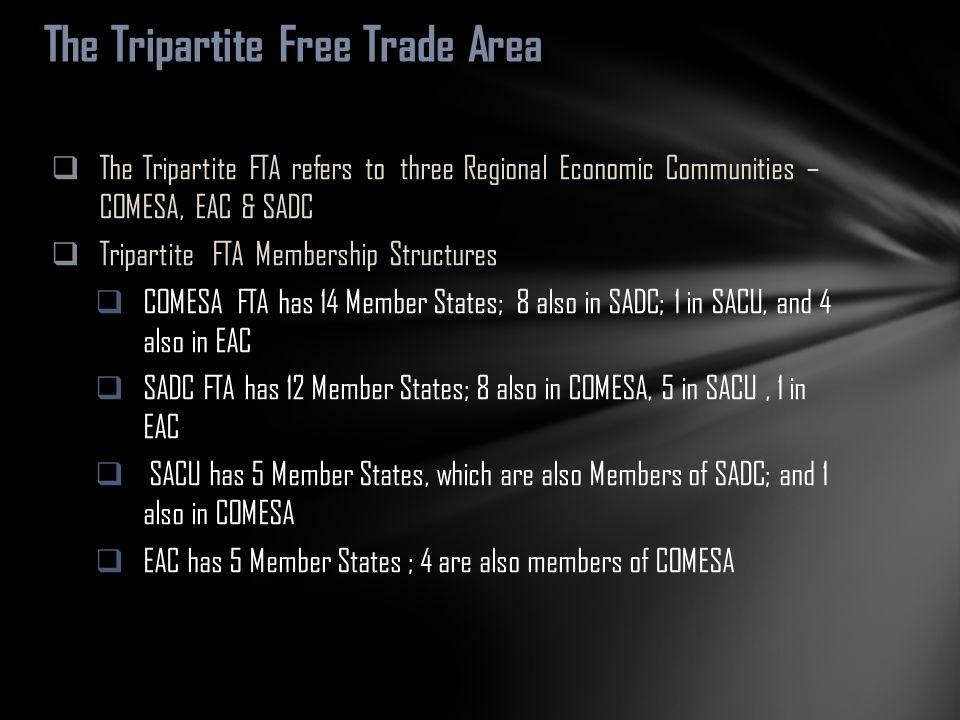  The Tripartite FTA refers to three Regional Economic Communities – COMESA, EAC & SADC  Tripartite FTA Membership Structures  COMESA FTA has 14 Mem