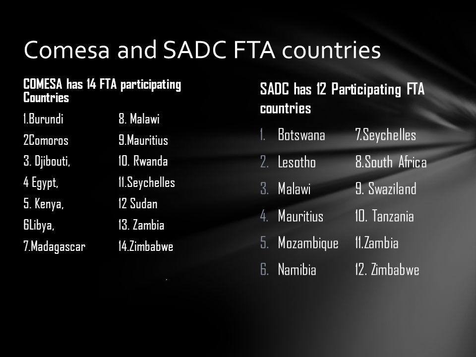 SADC has 12 Participating FTA countries 1.Botswana7.Seychelles 2.Lesotho8.South Africa 3.Malawi9. Swaziland 4.Mauritius10. Tanzania 5.Mozambique11.Zam