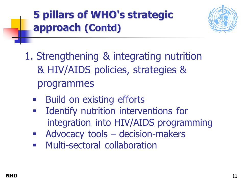 NHDNHD 11 5 pillars of WHO s strategic approach (Contd) 1.