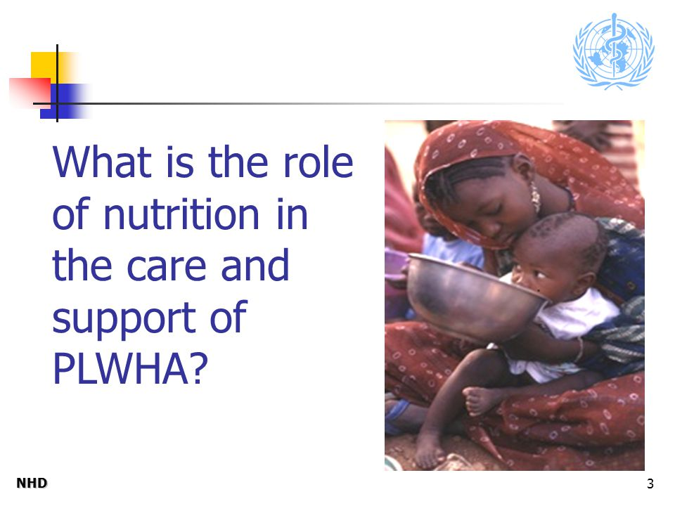 NHDNHD 3 What is the role of nutrition in the care and support of PLWHA