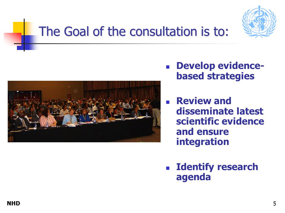NHDNHD 5 The Goal of the consultation is to: Develop evidence- based strategies Review and disseminate latest scientific evidence and ensure integration Identify research agenda