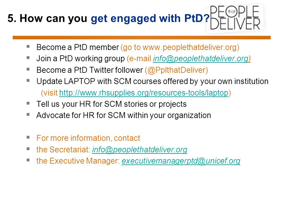 5. How can you get engaged with PtD.