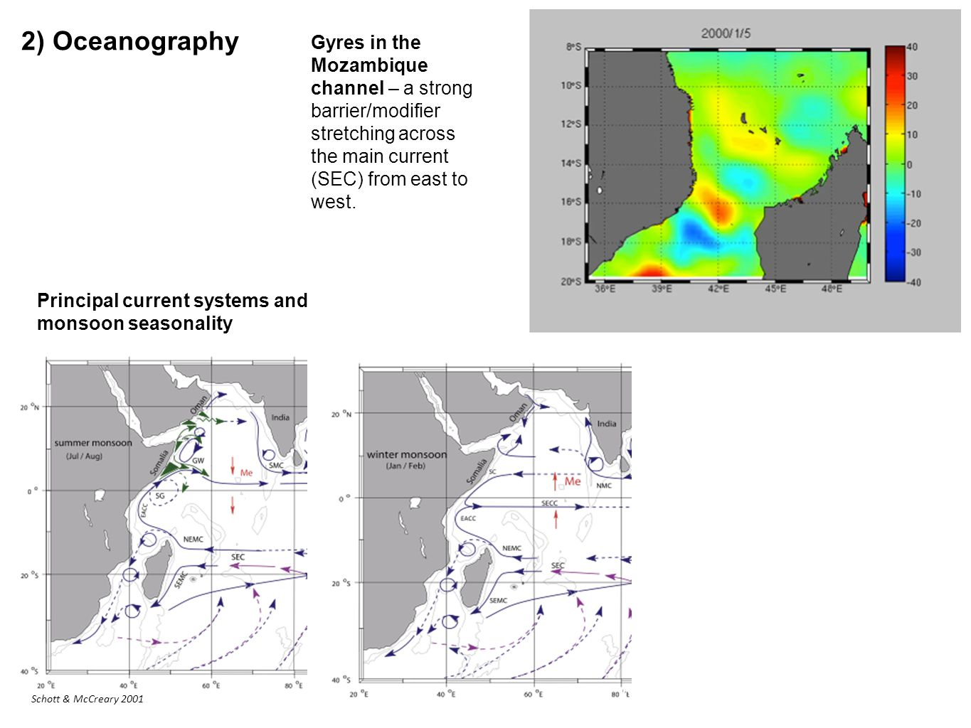 2) Oceanography Principal current systems and monsoon seasonality Gyres in the Mozambique channel – a strong barrier/modifier stretching across the main current (SEC) from east to west.