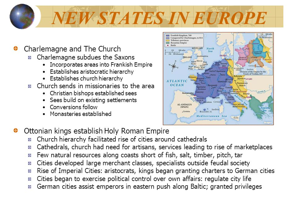 NEW STATES IN EUROPE Charlemagne and The Church Charlemagne subdues the Saxons Incorporates areas into Frankish Empire Establishes aristocratic hierar