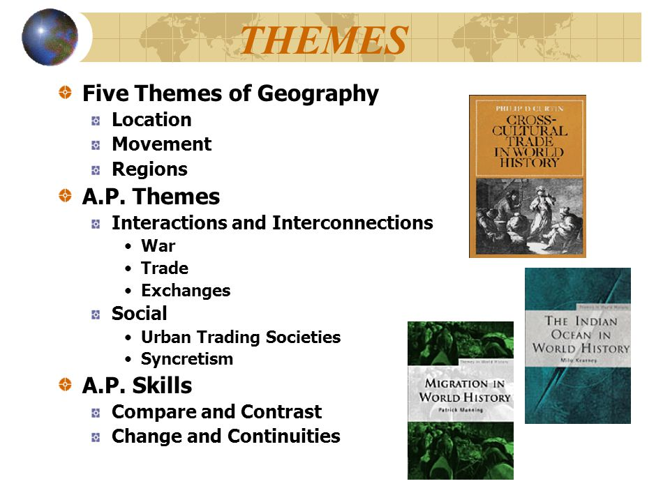 THEMES Five Themes of Geography Location Movement Regions A.P. Themes Interactions and Interconnections War Trade Exchanges Social Urban Trading Socie