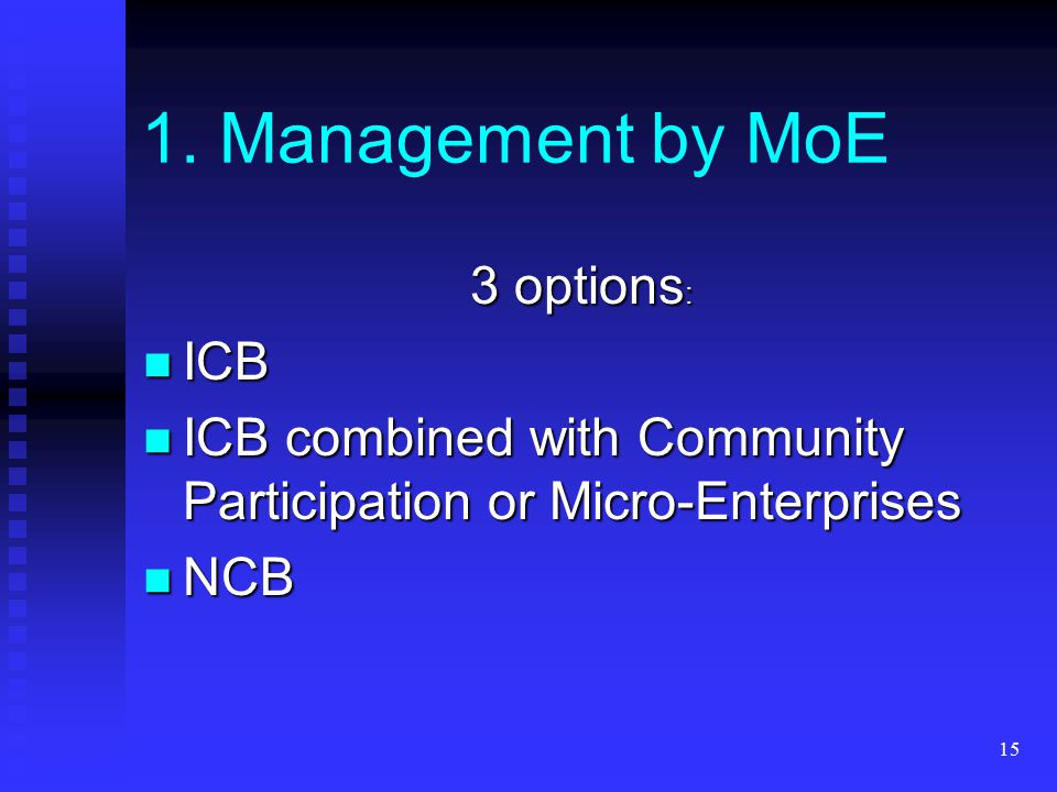15 3 options : ICB ICB ICB combined with Community Participation or Micro-Enterprises ICB combined with Community Participation or Micro-Enterprises NCB NCB 1.