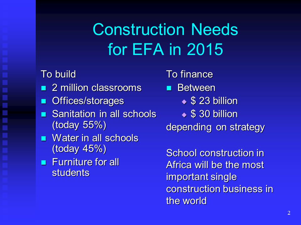 2 Construction Needs for EFA in 2015 To build 2 million classrooms 2 million classrooms Offices/storages Offices/storages Sanitation in all schools (today 55%) Sanitation in all schools (today 55%) Water in all schools (today 45%) Water in all schools (today 45%) Furniture for all students Furniture for all students To finance Between  $ 23 billion  $ 30 billion depending on strategy School construction in Africa will be the most important single construction business in the world