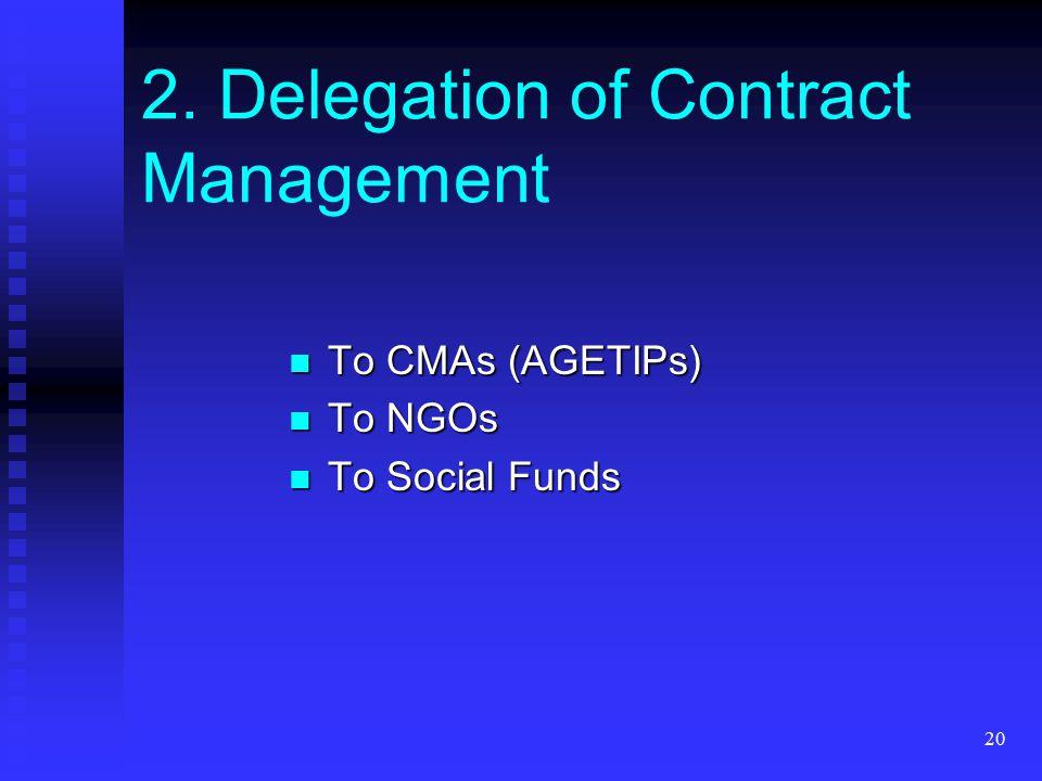 20 To CMAs (AGETIPs) To CMAs (AGETIPs) To NGOs To NGOs To Social Funds To Social Funds 2. Delegation of Contract Management