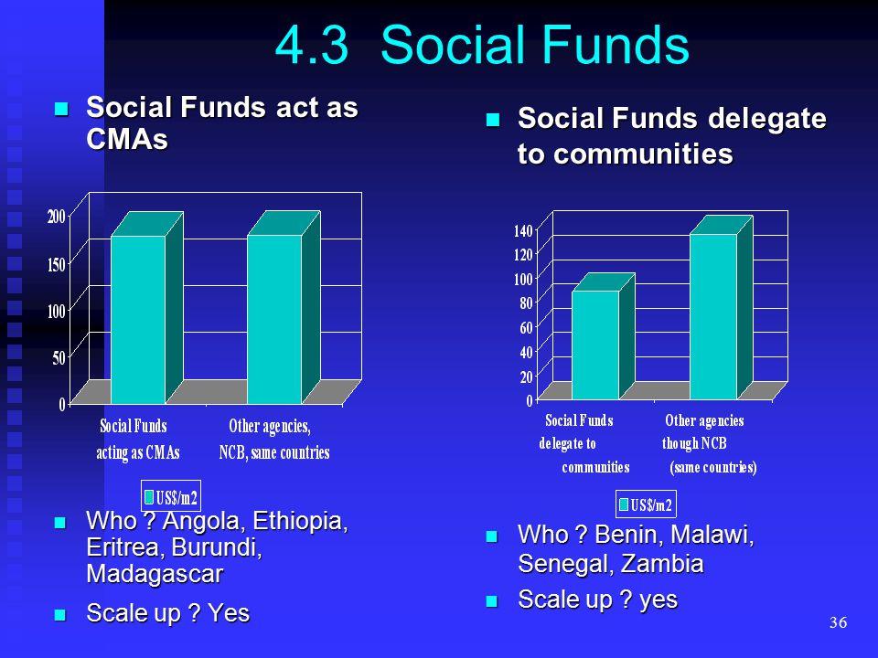 36 4.3 Social Funds Social Funds act as CMAs Social Funds act as CMAs Who ? Angola, Ethiopia, Eritrea, Burundi, Madagascar Who ? Angola, Ethiopia, Eri