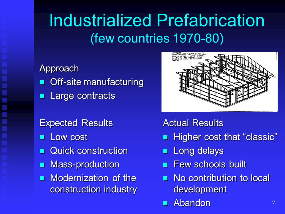 7 Industrialized Prefabrication (few countries 1970-80)Approach Off-site manufacturing Off-site manufacturing Large contracts Large contracts Expected Results Low cost Low cost Quick construction Quick construction Mass-production Mass-production Modernization of the construction industry Modernization of the construction industry Actual Results Higher cost that classic Long delays Few schools built No contribution to local development Abandon